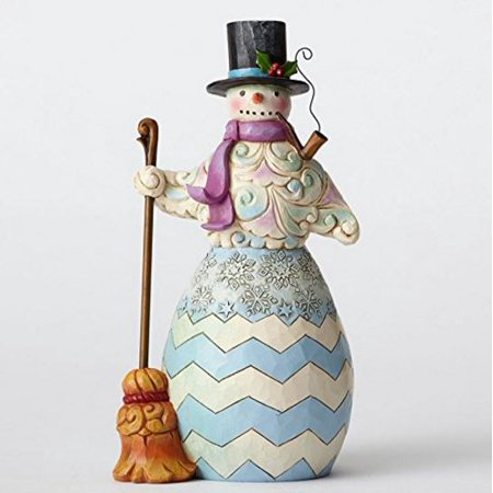 Heartwood Creek Snowman Figurine (Jim Shore Heartwood Creek Regal Snowman with Broom Christmas Figurine)