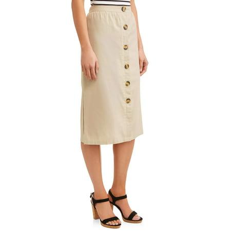 Juniors' Button Front Linen Side Slit Midi Skirt