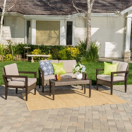Christopher Knight Home Croatia Outdoor 4 Piece Aluminum Wicker Chat Set With Cushions By