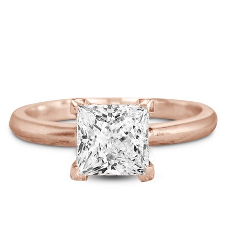 1 Carat Princess cut Moissanite Solitaire Engagement Ring in Rose Gold