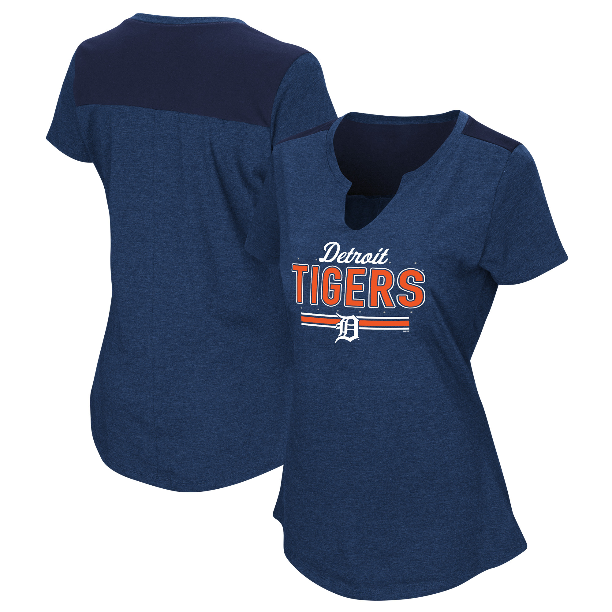 Women's Majestic Navy Detroit Tigers Plus Size Switch Hitter T-Shirt