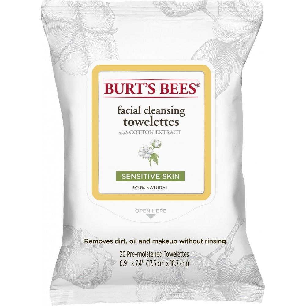 Burt's Bees Facial Cleansing Towelettes for Sensitive Skin, 30 Count