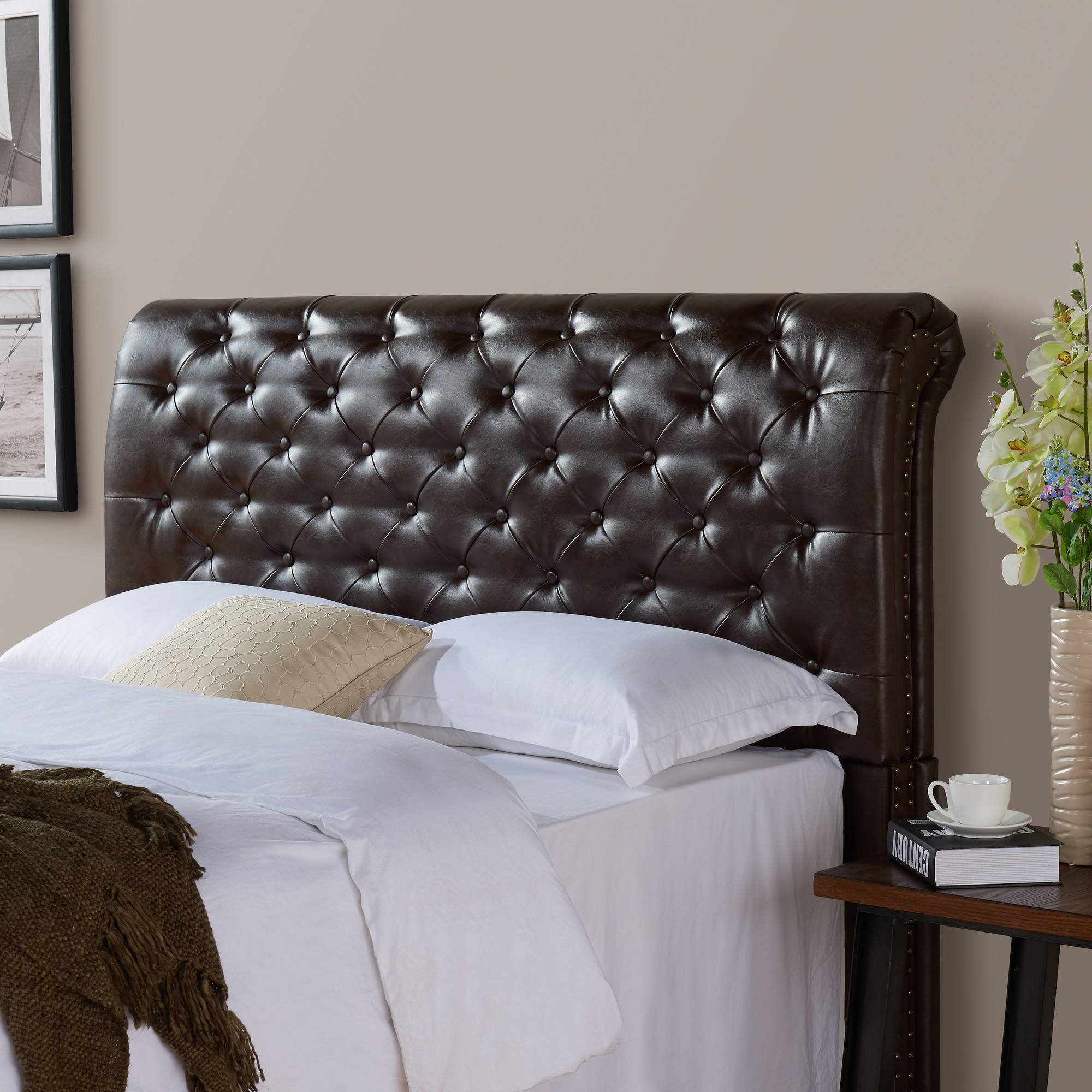 Better Homes and Gardens Rolled Tufted Upholstered Headboard, Brown Bonded Leather, Multiple Sizes