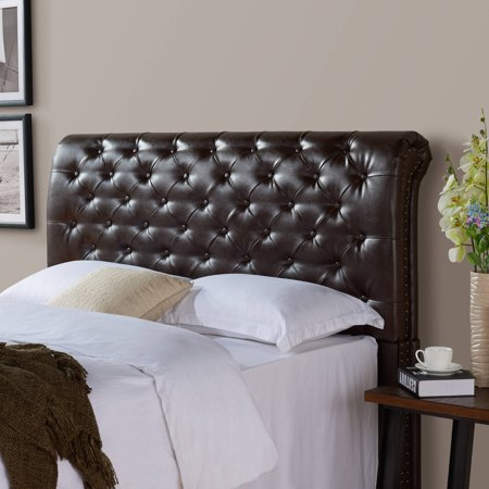 Better Homes and Gardens Rolled Tufted Upholstered Headboard, Brown Bonded Leather, Multiple