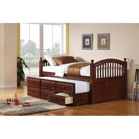 (Kingfisher Lane Twin Daybed with Trundle and Storage Drawers in Cherry)