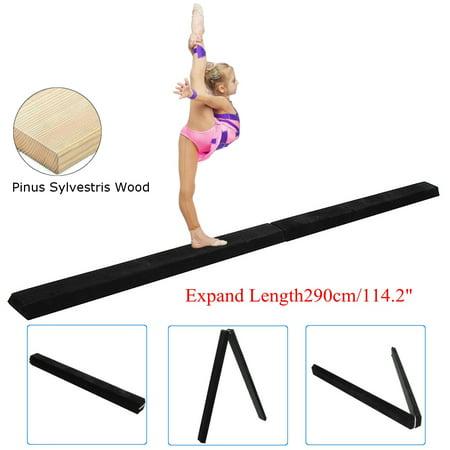 9.5' Foldable Gymnastics Balance Beam, Sectional Floor Gymnastics Bar with Anti-Slip Base, for Junior Kids Home Gym Skill Performance thumbnail