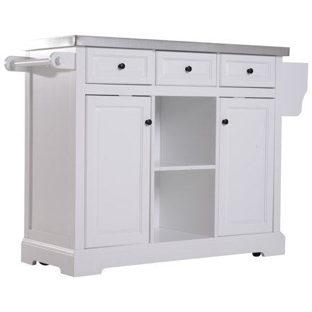 Homcom 51 L Wood Stainless Steel Portable Rolling Kitchen Island Cart With Wheels White
