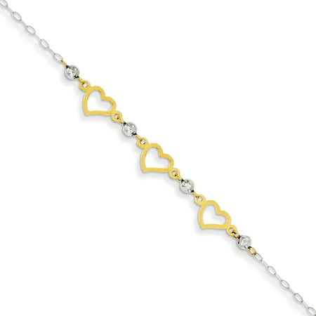 - 14kt Two Tone Yellow Gold Oval Link Beads Heart Bracelet 7.50 Inch /love Fine Jewelry Ideal Gifts For Women Gift Set From Heart