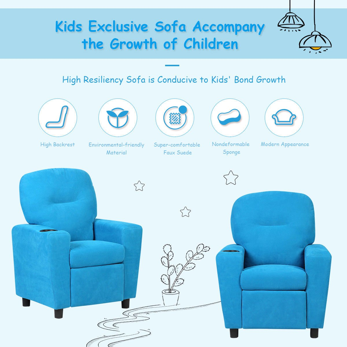 Kids Sofa Seat Armchair Recliner Couch