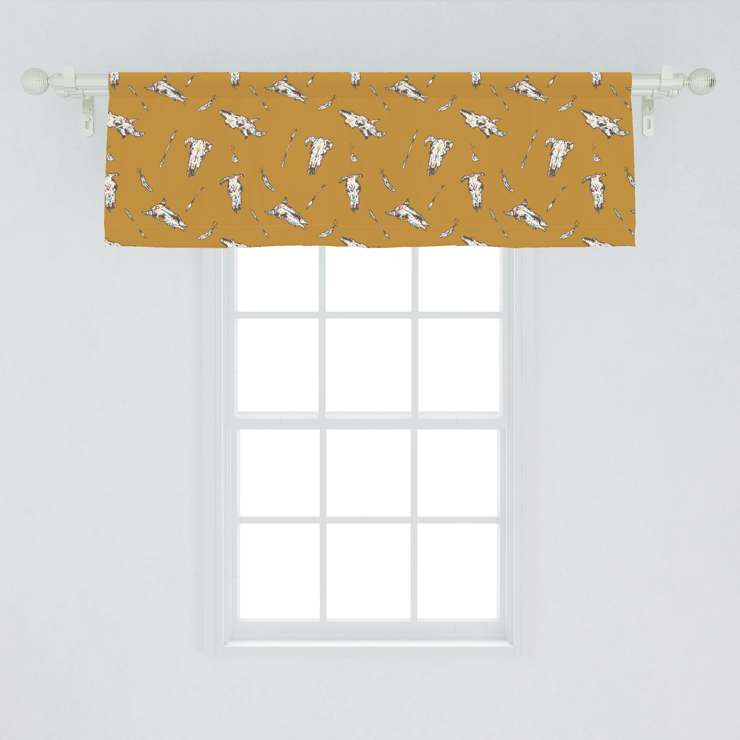 Rodeo Window Valance Bohemian Print Of Cow Skulls With Retro Element And Feathers Wild West Curtain Valance For Kitchen Bedroom Decor With Rod Pocket By Ambesonne Walmart Com Walmart Com