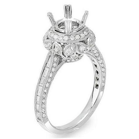 Dazzlingrock Collection 1.15 Carat (Ctw) 14k Brilliant Round & Baguette Cut Diamond Vintage Antique Look Semi Mount Ladies Engagement Bridal Ring (No Center Stone), White Gold, Size