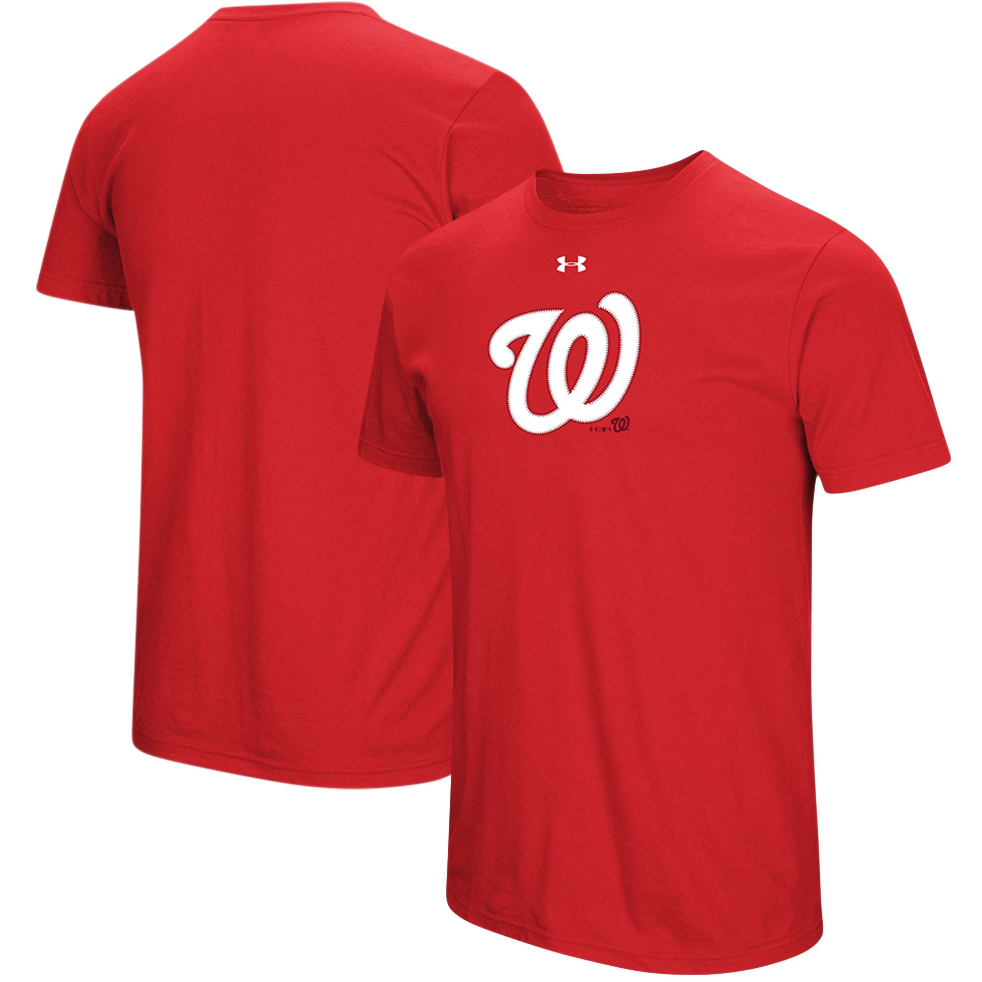Washington Nationals Under Armour Passion Stitch Logo Tri-Blend T-Shirt - Red