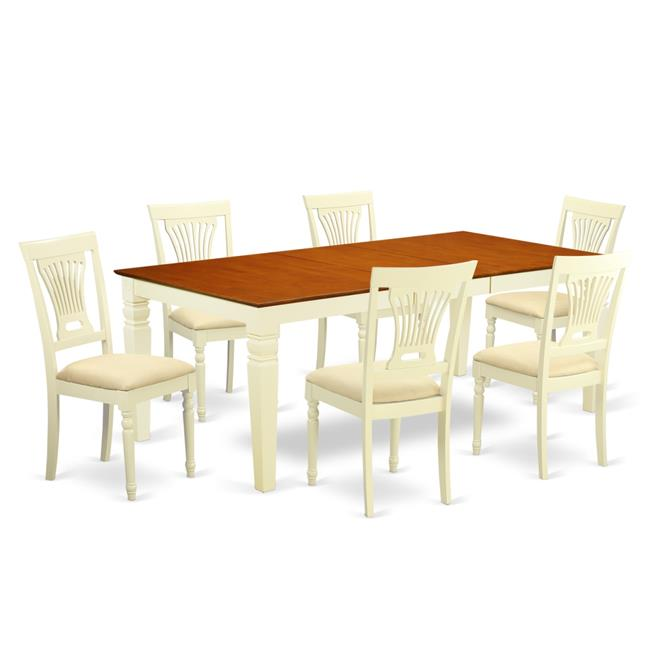 Kitchen Tables & Chair Set with One Logan Table & 6 Chairs, Buttermilk &  Cherry - 7 Piece - Walmart.com