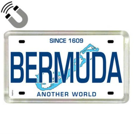 Small Acrylic Magnet - Bermuda Caribbean License Plate Acrylic Small Fridge Collector's Souvenir Magnet 2 inches X 1.25 inches