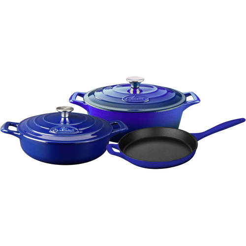 La Cuisine 5-Piece Enameled Cast Iron Cookware Set, Oval Casserole by La Cuisine