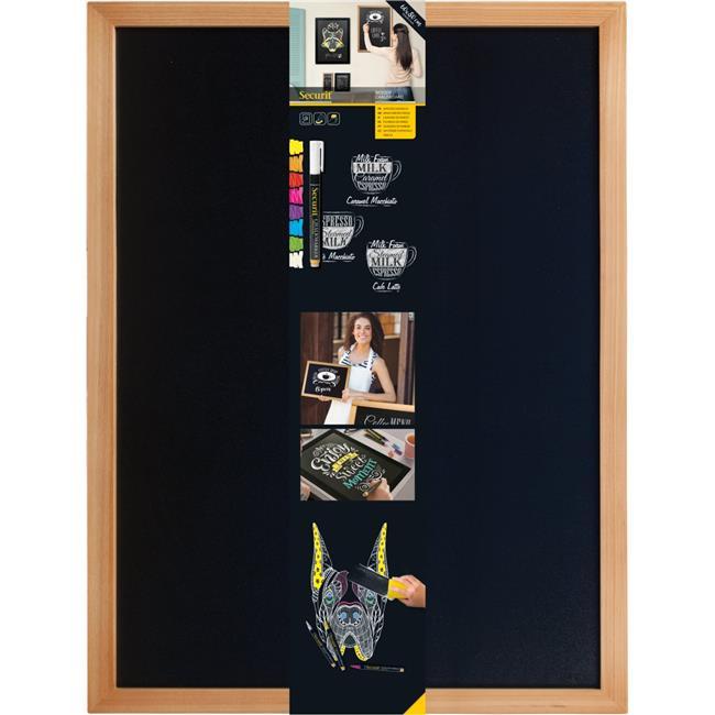 Securit WBW-TE-60-80 60 x 80 cm Wooden Wall Chalkboard & Marker, Teak