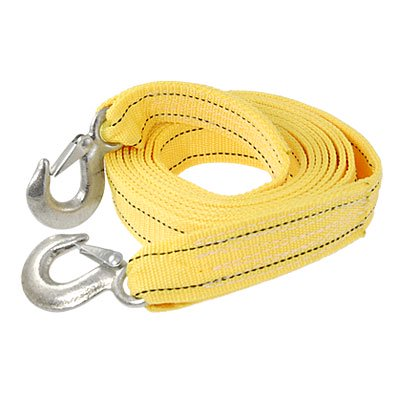 Unique Bargains 3 Ton Car Truck Double Hooks Nylon Tow Recovery Strap Pulling Rope Yellow