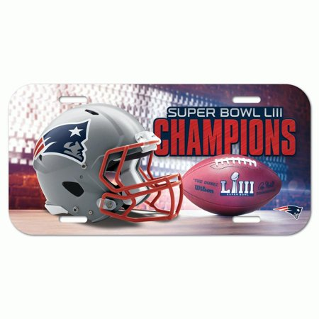 New England Patriots WinCraft Super Bowl LIII Champions Plastic License Plate - No Size - New England Patriots Plates