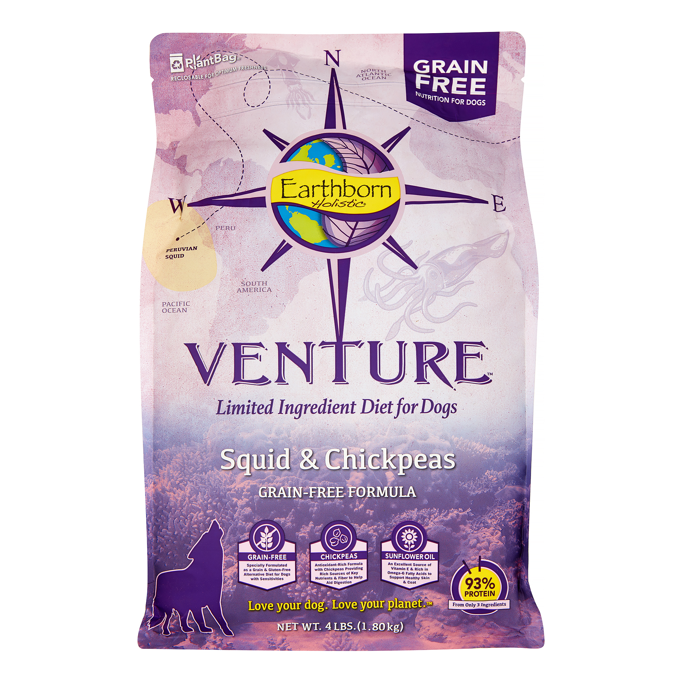 Earthborn Holistic Venture Squid & Chickpeas Limited Ingredient Diet Grain-Free Dry Dog Food, 4 Lb