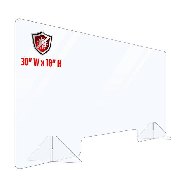 Portable Plexiglass Sneeze Guard Counter Shield 30x18. Multiple Sizes Available