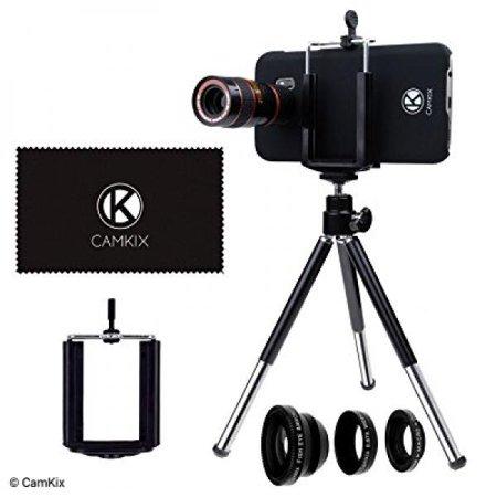 CamKix Lens Kit for Samsung Galaxy S7 and S7 Edge - 8x Telephoto Lens, Fisheye Lens, Macro Lens, Wide Angle Lens, Tripod, Phone Holder, Holder Ring, Hard Case (2x), Velvet Bag and Cleaning