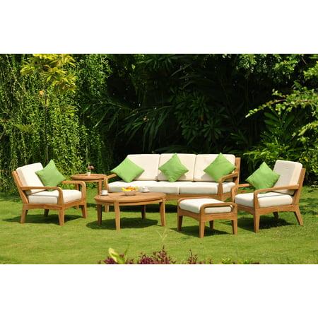 WholesaleTeak Outdoor Patio Grade-A Teak Wood Noida 6 Piece Teak Sofa Set - 3 Seater Sofa, 2 Lounge Chairs, 1 Ottoman, 1 Round Coffee Table And 1 Round End Table - Furniture only #WMSSNO2 ()