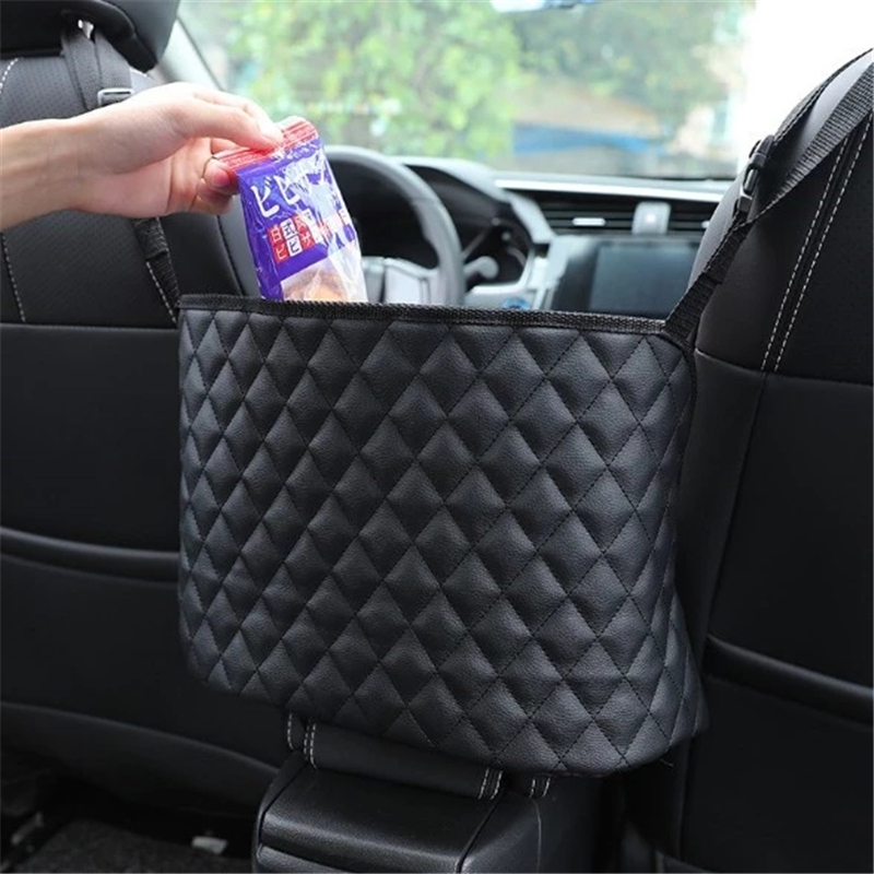 Black Car Handbag Holder 【2020 Upgraded】 Multi Function Car Net Pocket Trucks Purse Storage/&Pocket,Premium PU Leather Handbag Holder,Car Bag Storage Organizer Between Front Seats for Cars