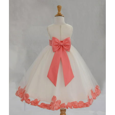 Ekidsbridal Satin Ivory Coral Tulle Petal Christmas Junior Bridesmaid Recital Easter Holiday Wedding Pageant Communion Princess Birthday Girl Clothing Baptism 302T size 14 Flower Girl Dress](Flower Girl Dress Size 14)