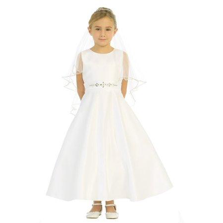 Girls Ivory Sparkle Rhinestone A-Line Satin Elegant Communion Dress