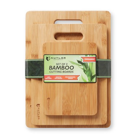 KUTLER Set of 3 Organic Bamboo Cutting Boards w/ Handles - Kitchen Wood Chopping Blocks for Carving Meats, Vegetables, Breads &