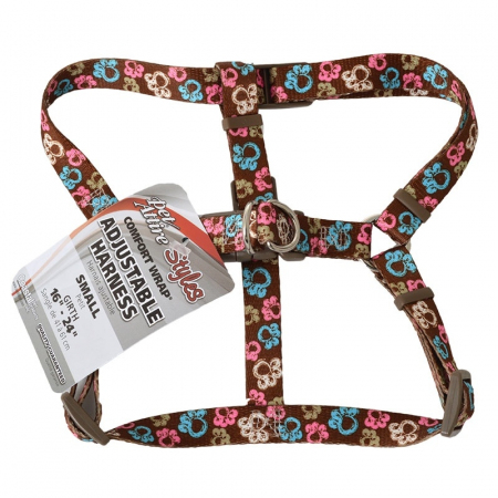 """Pet Attire Styles Comfort Wrap Adjustable Dog Harness Special Paw Brown - Fits 16""""-24"""" Girth - (5/8"""" Straps)"""