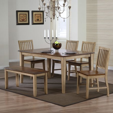 brookdale 6 piece rectangle dining set with bench