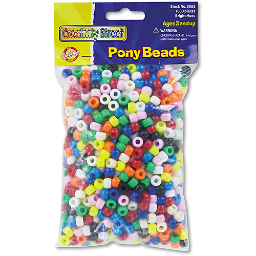 Chenille Kraft Pony Beads, Plastic, 6mm x 9mm, Assorted Colors, 1000 Pack