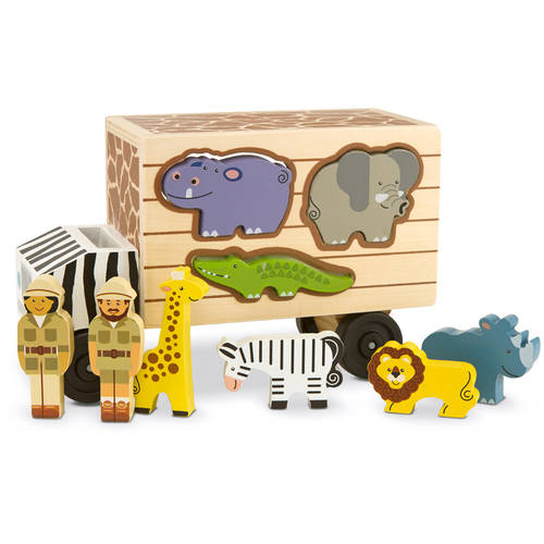 Melissa & Doug Animal Rescue Shape-Sorting Truck Wooden Toy With 7 Animals and 2 Play Figures by Melissa %26 Doug
