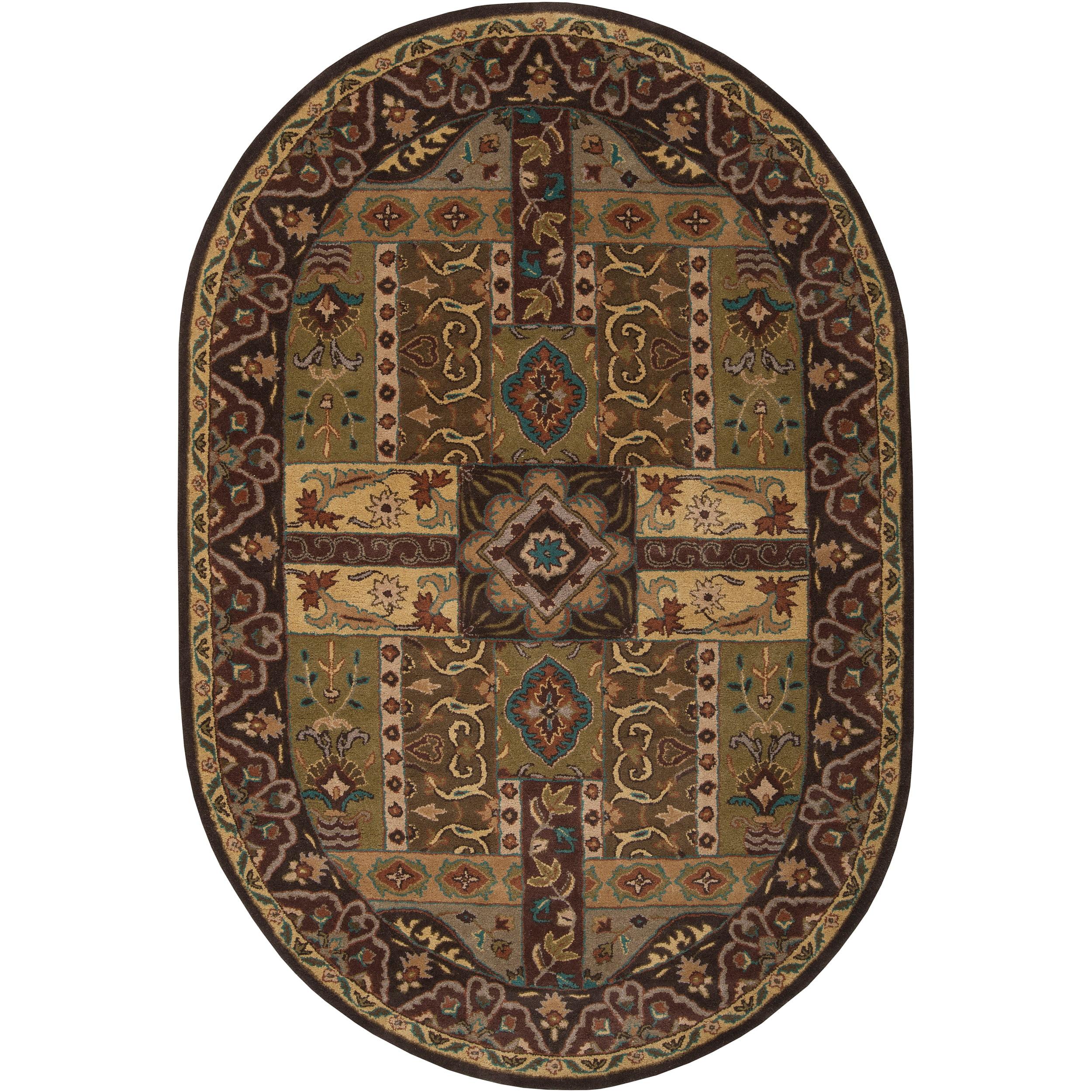 Hand Tufted Brown Kiser Wool Area Rug 8 X 10 Oval Walmart Com