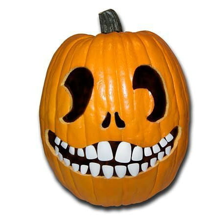 Halloween Pumpkin Carving Kit - Pumpkin Teeth for your Jack O' Lantern - Set of 18 White Buck Teeth - Easy Halloween Pumpkin Carving Designs