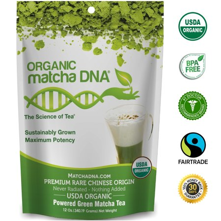 MatchaDNA USDA Certified Organic Matcha Green Tea Powder 12 oz 100% Pure - Nothing added.