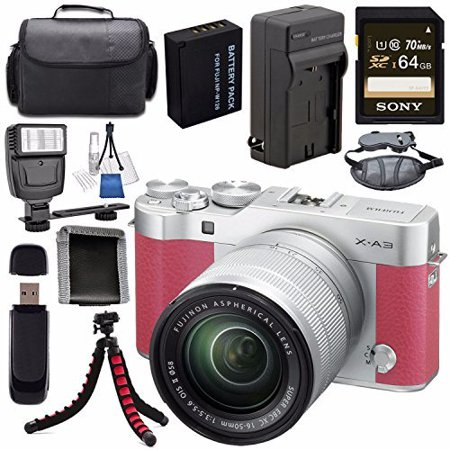 Fujifilm X-A3 Digital Camera w/ 16-50mm Lens (Pink) 16531659 + NP-W126 Lithium Ion Battery + External Rapid Charger + Sony 64GB SDXC Card + Case + Tripod + Flash + Card Reader + Card Wallet