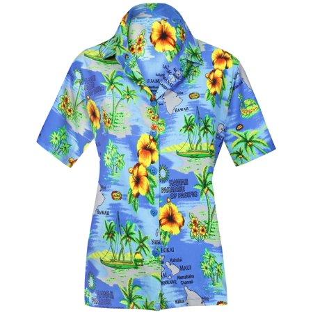 LA LEELA Women's Beach hawaiian button down blouse casual tank top aloha Shirt Blue_W986 (Women's Hawaiian Blouses)