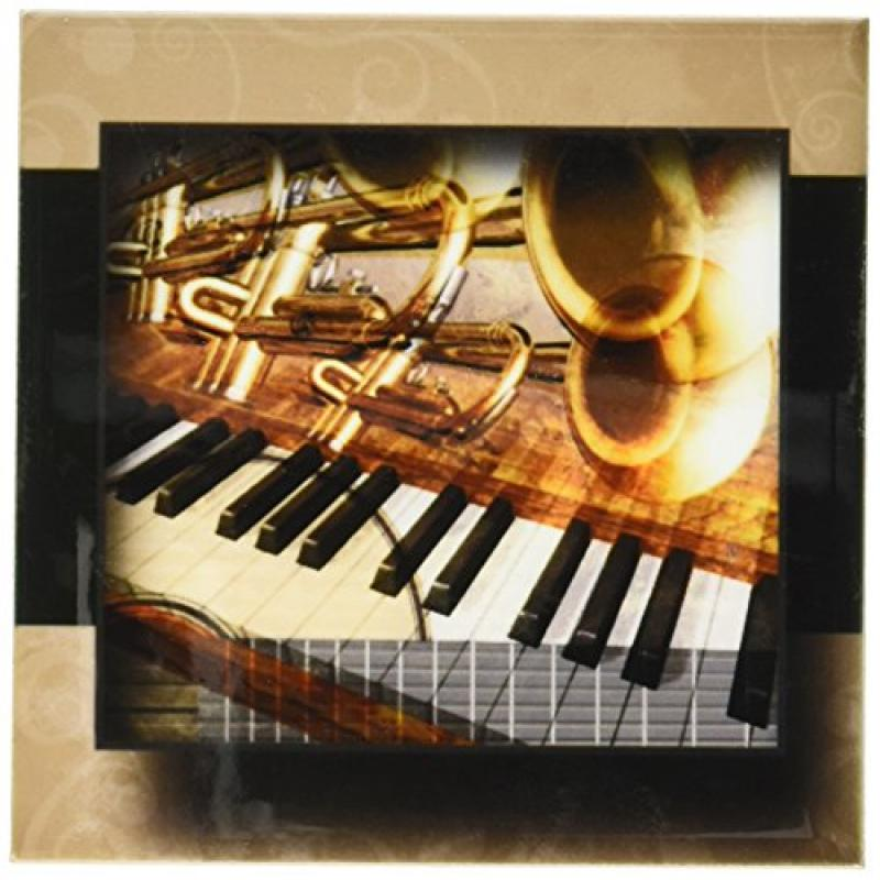 3dRose cst_110951_3 Abstract Jazz Instruments-Ceramic Til...