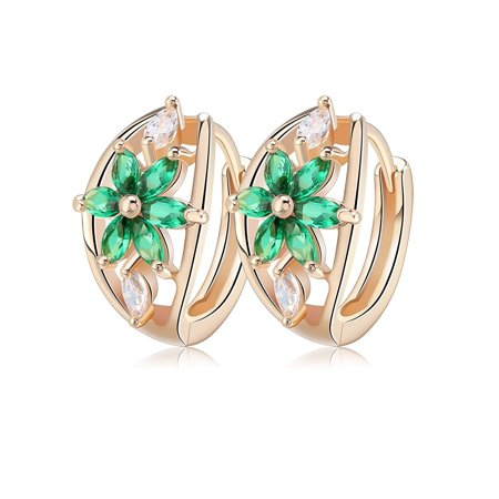 Red Green Purple or Clear Marquise Cut CZ Flower Design Drop Earrings