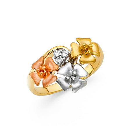 (CZ Flower Ring Solid 14k Yellow Gold Three Flowers Band Curve Stylish Satin & Polished Tri Color)