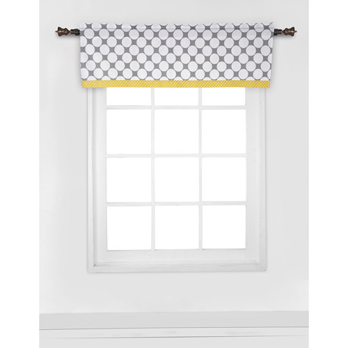 "Bacati Dots Pin Stripes Window Valance 15""x54"" 100% Cotton percale fabrics, Gray Yellow by Bacati"
