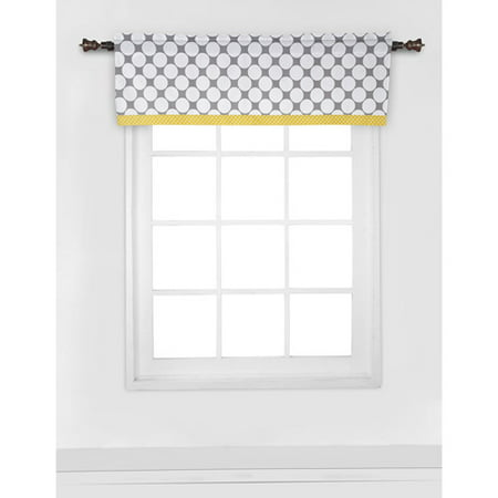 Bacati Dots Pin Stripes Window Valance 15 X54  100  Cotton Percale Fabrics  Gray Yellow