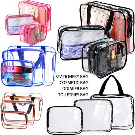 3 Pack Clear Travel Toiletry Cosmetic Makeup Bags Organizer Set Case Pouch Purse Brush Holder