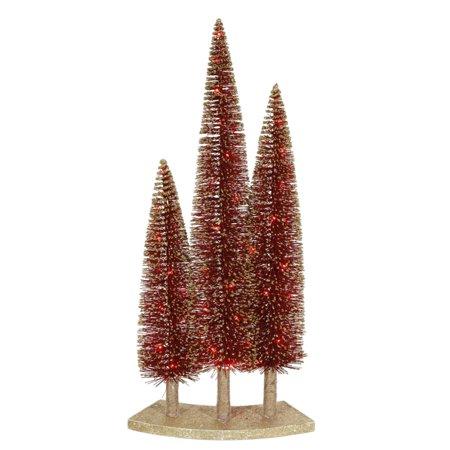 Glitter Tree (Pre-Lit LED Red Glitter Artificial Mini Village Christmas Tree Trio)