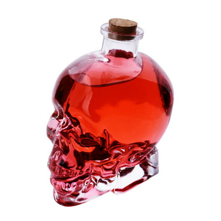 Wine Decanter- 180mL Skull Glass Wine Decanter Multi-purpose Whiskey Decanters Creative Vodka Bottle
