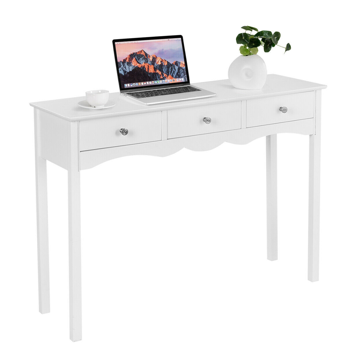 Etonnant Costway Console Table Hall Table Side Table Desk Accent Table 3 Drawers  Entryway White