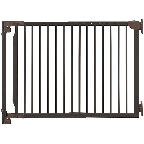 Richell Expandable Walk-Thru Pet Gate, Coffee Bean