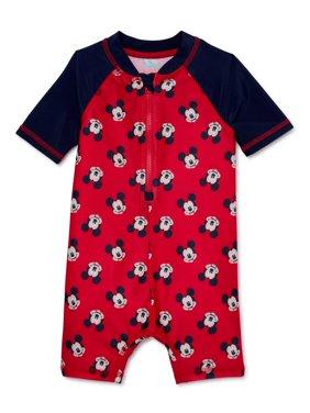 Mickey Mouse Baby Boy One-Piece Rashguard Swimsuit